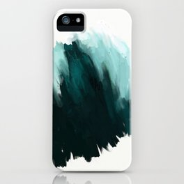 Our trip to the Oregon coast - an aqua blue abstract painting by JulesTillman iPhone Case