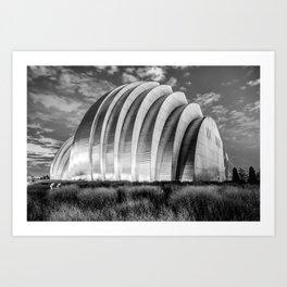 Kauffman Center at Dawn - Kansas City Architectural Monochrome Art Print
