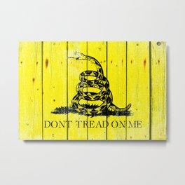 Gadsden Flag On Old Wood Planks - Don't Tread on Me Metal Print