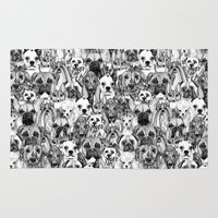 shih tzu Area & Throw Rugs featuring christmas dogs by Sharon Turner