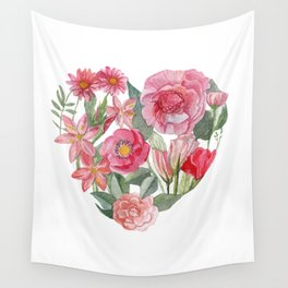 heart and flower mean love Wall Tapestry