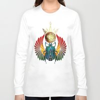 egyptian Long Sleeve T-shirts featuring egyptian beetle by Manoou
