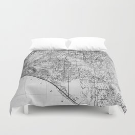 Vintage Map of Nevada (1894) BW Duvet Cover