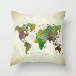 World Map Color Throw Pillow