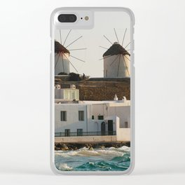 Picturesque Windmills on Mykonos Island Greece Clear iPhone Case