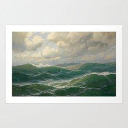 Vintage Ocean Oil Painting by Max Jensen Art Print