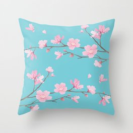 Cherry Blossom - Robin Egg Blue Throw Pillow