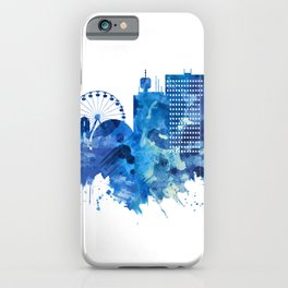 Geneva Switzerland Skyline Blue iPhone Case