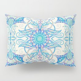 Teal Blue, Pearl & Pink Floral Pattern Pillow Sham