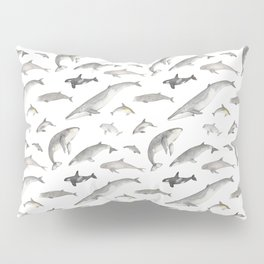 Watercolour whales and dolphins Pillow Sham