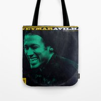 neymar Tote Bags featuring LPFC: Neymar by James Campbell Taylor