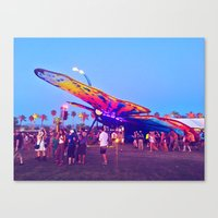 coachella Canvas Prints featuring coachella butterfly by katelyndee