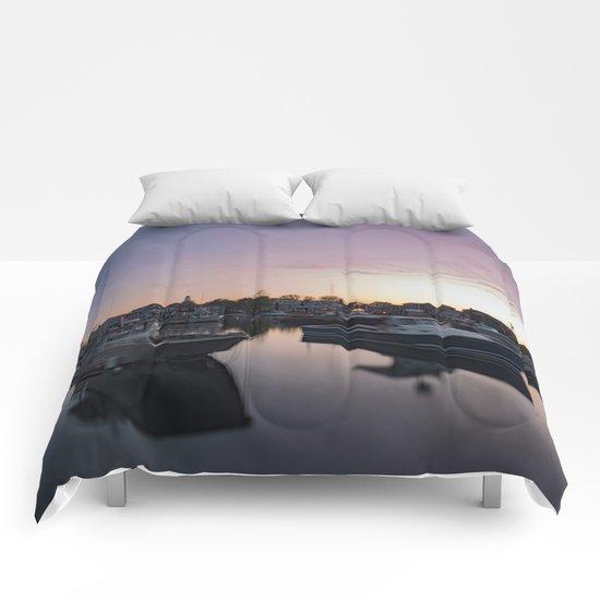 Rockport Harbor at twilight Comforters