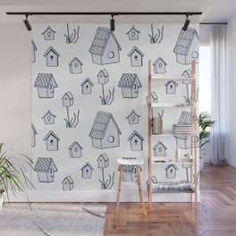 Bird House Drawings, Pattern Wall Mural