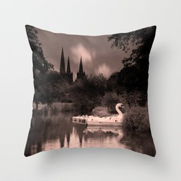 Swan Boats In The Reflection Of Lichfield Cathedral Throw Pillow