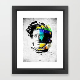 Ayrton Senna do Brasil - White & Color Series #4 Framed Art Print