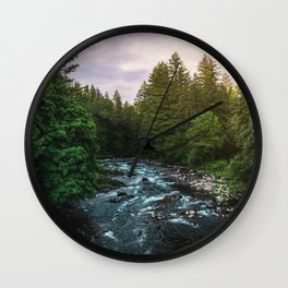 PNW River Run II - Pacific Northwest Nature Photography Wall Clock