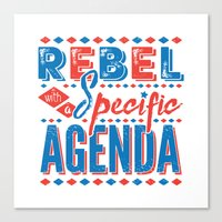 rebel Canvas Prints featuring Rebel by Word Quirk