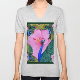 TROPICAL PINK HIBISCUS PEACOCK GREEN ART Unisex V-Neck