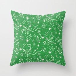 Winter Floral Green Throw Pillow