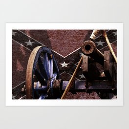 Confederacy Cannon And Flag Art Print