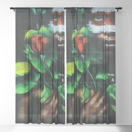 African American Masterpiece Portrait of a West African Young Woman floral painting Sheer Curtain