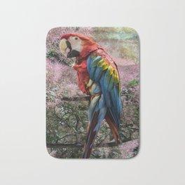 Red macaw parrot ara Bath Mat