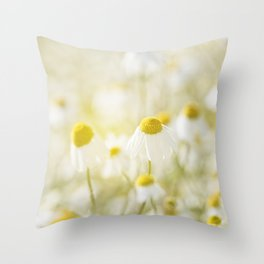 Floral Spring Meadow with Flowers Camomile and Daisies Throw Pillow