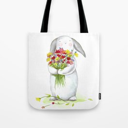 Flower Bunny (nursery art, art for children) Tote Bag