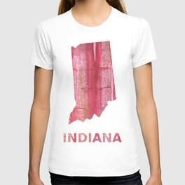 Indiana map outline red stained wash drawing pattern T-shirt