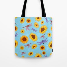 Sunflowers & Dragonflies Tote Bag