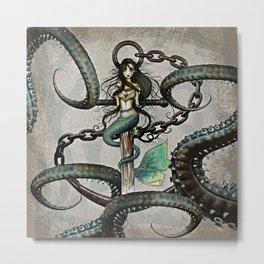 Steampunk Mermaid and Octopus Metal Print