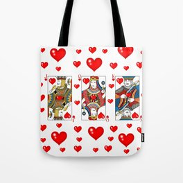 JACK, QUEEN, KING OF HEARTS SUIT CASINO  FACE CARDS Tote Bag