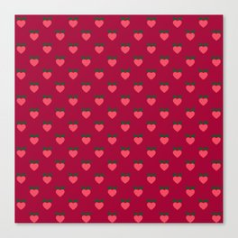 Strawberry Pink Love Hearts & Love Birds Canvas Print
