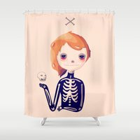 bones Shower Curtains featuring Bones by Nan Lawson