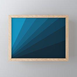 The blue fan, geometric design in mystic blue Framed Mini Art Print