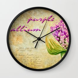 Purple Allium Bud Wall Clock