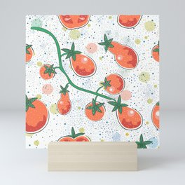 Dotted Background with colorful Tomatoes. Cartoon Design. Seamless Pattern Mini Art Print