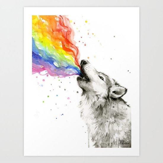 Wolf Rainbow Watercolor Howling Animal Whimsical Animals Art Print