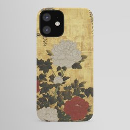 Vintage Japanese Floral Gold Leaf Screen With Wisteria and Peonies iPhone Case