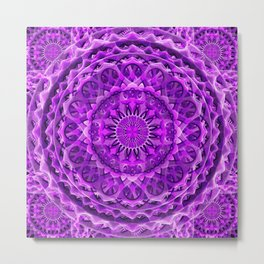 Lavender Lattice Mandala Metal Print
