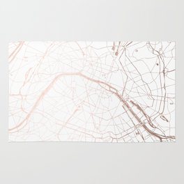 Paris France Minimal Street Map - Rose Gold Glitter Rug