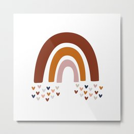 Boho Rainbow & Hearts Metal Print