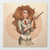 hermione Canvas Prints featuring Hermione by Dee J.
