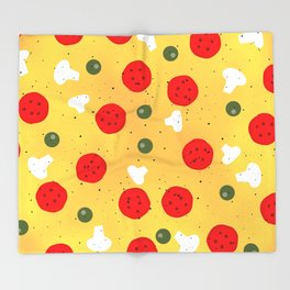 Cool fun pizza pepperoni mushroom Throw Blanket