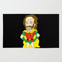 robin williams Area & Throw Rugs featuring Robin as Robin by Chris Piascik