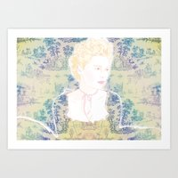 marie antoinette Art Prints featuring MARIE ANTOINETTE by Itxaso Beistegui Illustrations