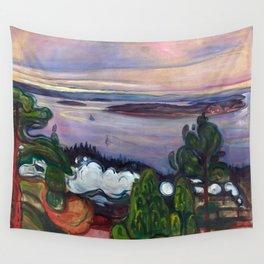 Train Smoke by Edvard Munch Wall Tapestry
