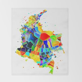 Colombia Map Throw Blanket