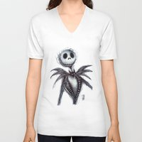 jack skellington V-neck T-shirts featuring Jack Skellington scribble by Patricia Pedroso